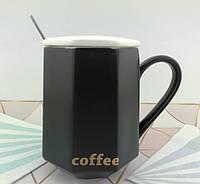 Чашка керамическая черная для мужчин Black Coffee, фото 1