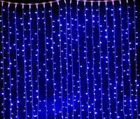 Гирлянда штора-водопад,прозрачный шнур, 3*3 м, 320 LED, синяя, с переходником