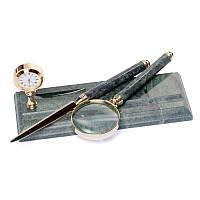 Подставка мраморная с часами в наборе с лупой и ножом для вскрытия писем