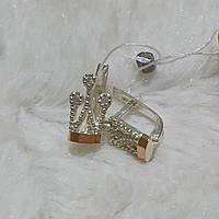 Сережки срібні із золотими вставками Корона з фіанітами