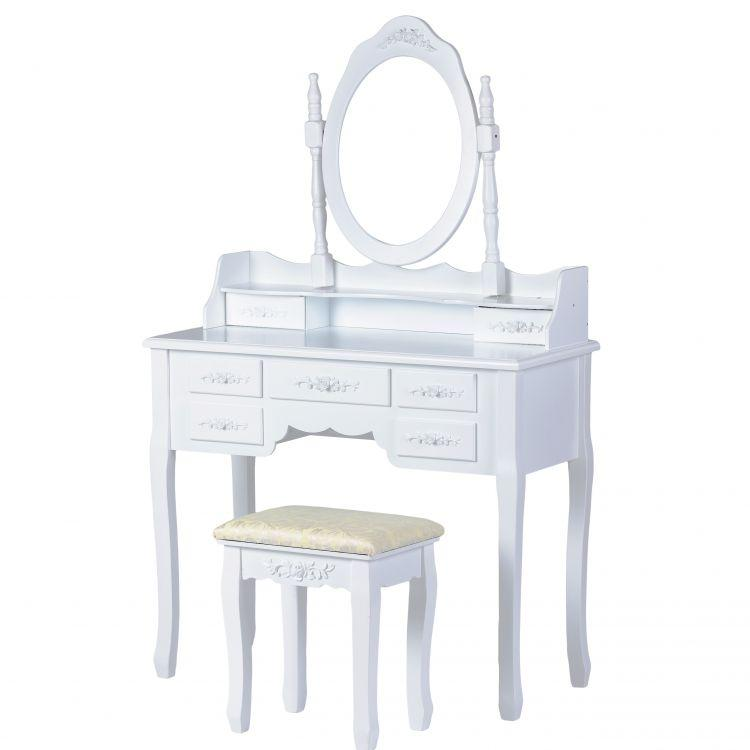 Туалетный столик GoodHome W-HY-006 большой белый с зеркалом + табурет (9091)