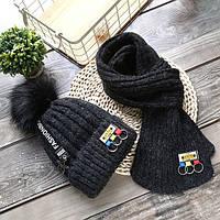 Теплая детская шапка с шарфом, фото 1