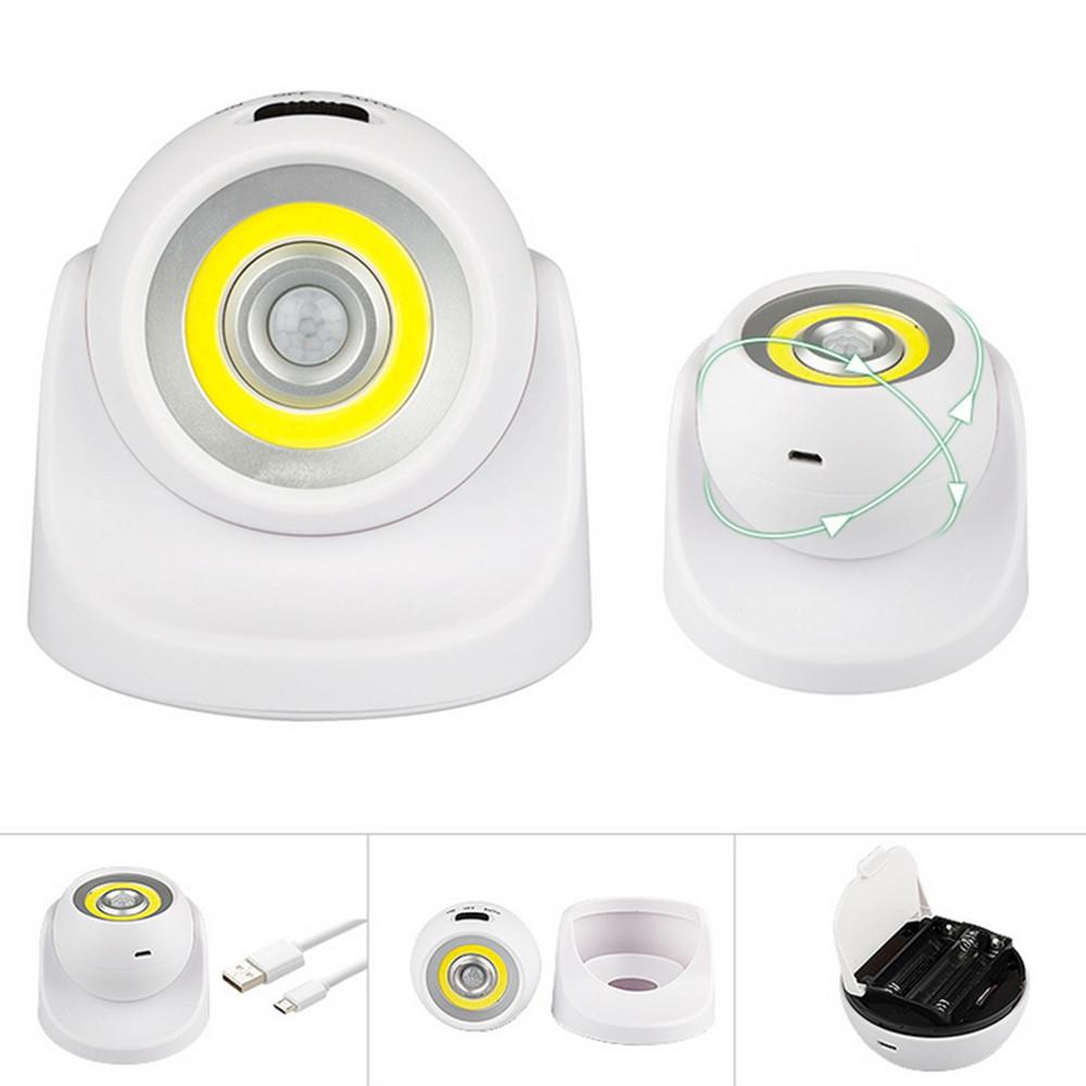 Батарея Питание / USB аккумуляторная 360 градусов вращения COB PIR Motion Датчик Night Light Corridor - 1TopShop