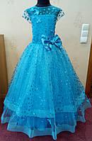 7.67 Необычное нарядное детское платье цвета морской волны с бабочками и корсом на 7-8 лет
