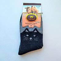 Носки женские шерстяные черные котики размер 37-42