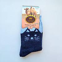 Носки Женские шерстяные синие котики размер 37-42