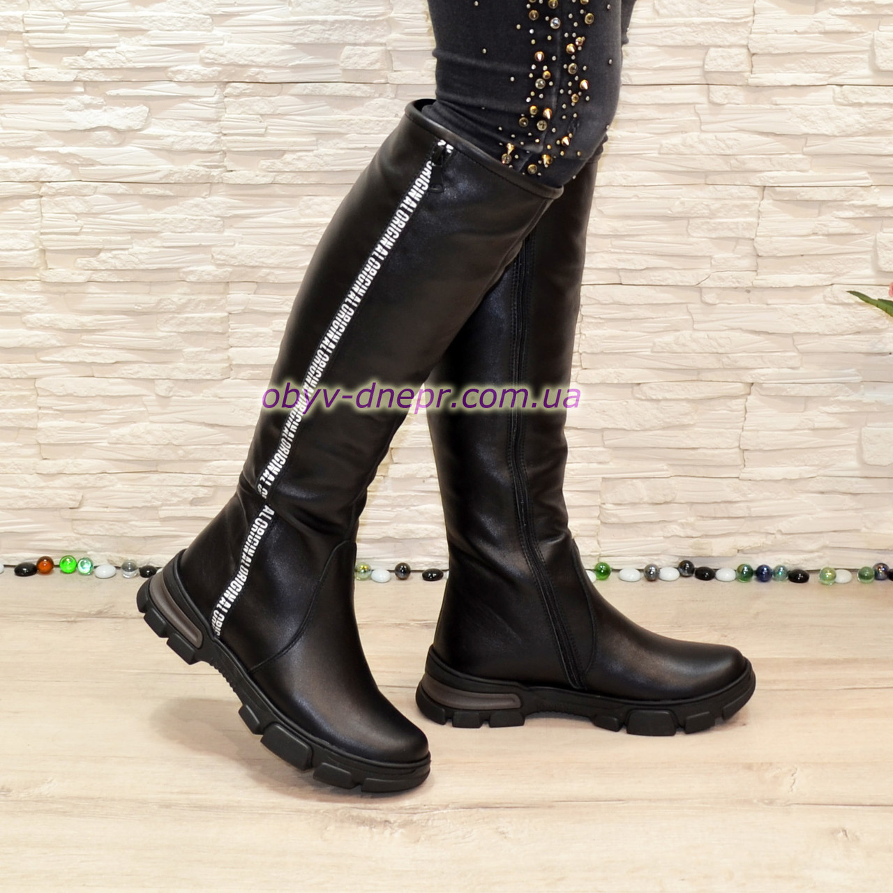 Сапоги кожаные женские спортивного стиля, на утолщенной подошве