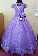 7.65 Необычное сиреневое нарядное детское платье с бабочками и корсом на 7-8 лет