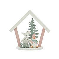 Декор Домик со Снеговиком розовый 11см 109045