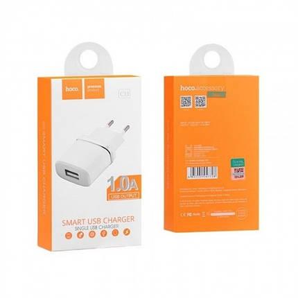 Мережевий зарядний пристрій HOCO C11 1 A / 1 USB-порт (Білий), фото 2