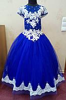 7.70 Необычное сине-белое нарядное детское платье с бабочками и корсом на 7-8 лет