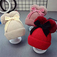 Тепла дитяча шапка з бантиком, фото 1