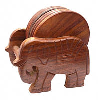 """9160195 Набор 6 подставок под горячее из красного дерева """"Слон"""""""