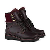 VM-Villomi Бордовые зимние ботинки на шнуровке с языком из меха