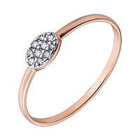 Золотое кольцо в комбинированном цвете с фианитами 000129267 000129267 17.5 размер