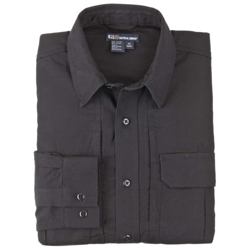 """Рубашка тактическая """"5.11 Tactical Shirt - Long Sleeve, Cotton"""", [019] Black"""