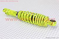 Амортизатор задний GY6/Honda - 290мм*d55мм (втулка 10мм / вилка 8мм) регулир., лимонный с паутиной на скутер