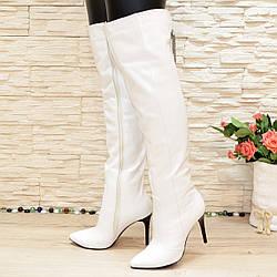 Ботфорты кожаные на шпильке, цвет белый