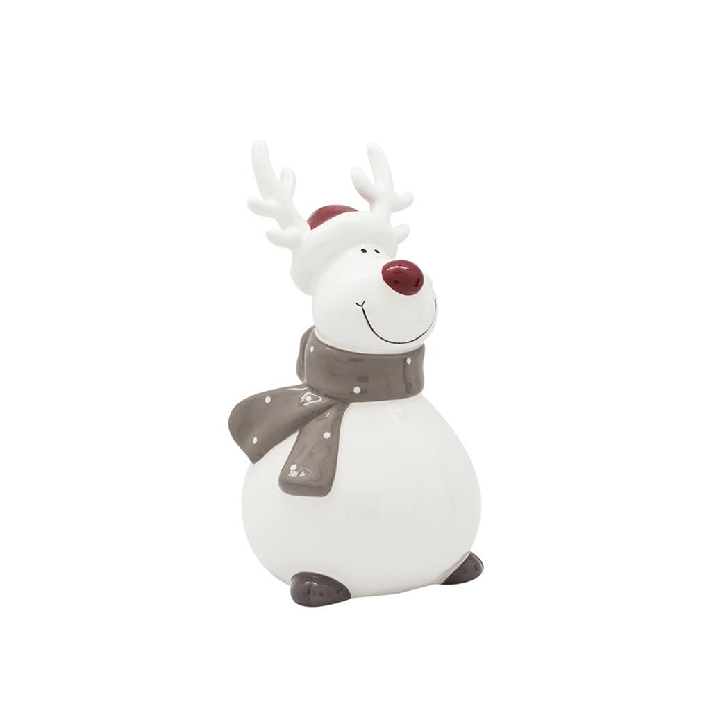 Фигурка Олень с шарфиком белый 16см 109030