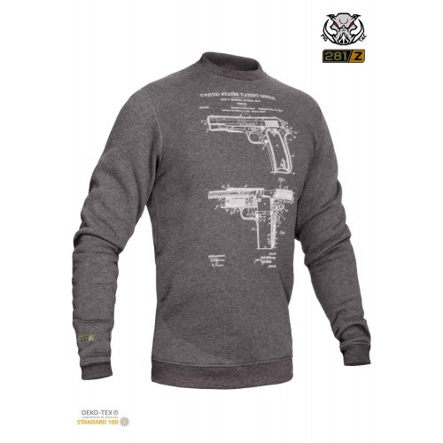 "Свитшот зимний ""WS- COLT1911"" (Winter Sweatshirt Colt 1911 Pistol Legend) , [1223] Graphite"