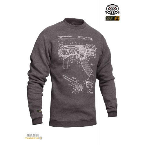 "Свитшот зимний ""WS- AK47"" (Winter Sweatshirt AK-47 Rifle Legend) , [1223] Graphite"