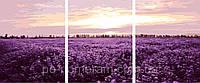РукИТвор Картина по номерам (MS14059) Триптих. Лавандовое поле, Триптих 50 х 150 см, DIY Babylon