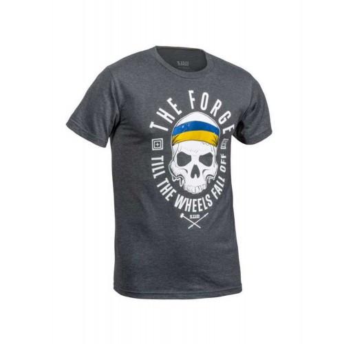 "Футболка ""5.11 THE FORGE UKRAINIAN FLAG TEE"" (лимитированная серия), [035] CHARCOAL HEATHER"