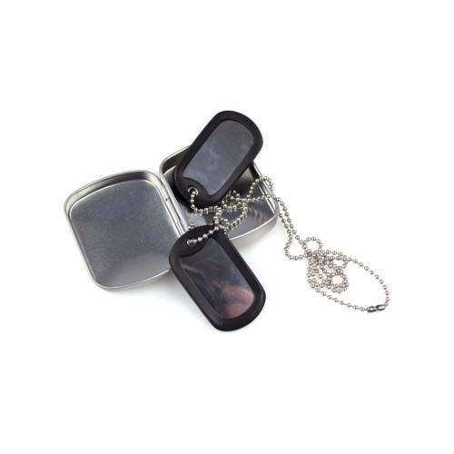 """Жетоны военные американские US """"DOG-TAG"""" в коробке (оригинальные), [1302] Silver"""