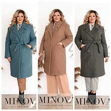 Неймовірно тепле і затишне пальто батал з підкладкою, р. 48-50, 52-54, 56-58, 60-62 код 3282Ф