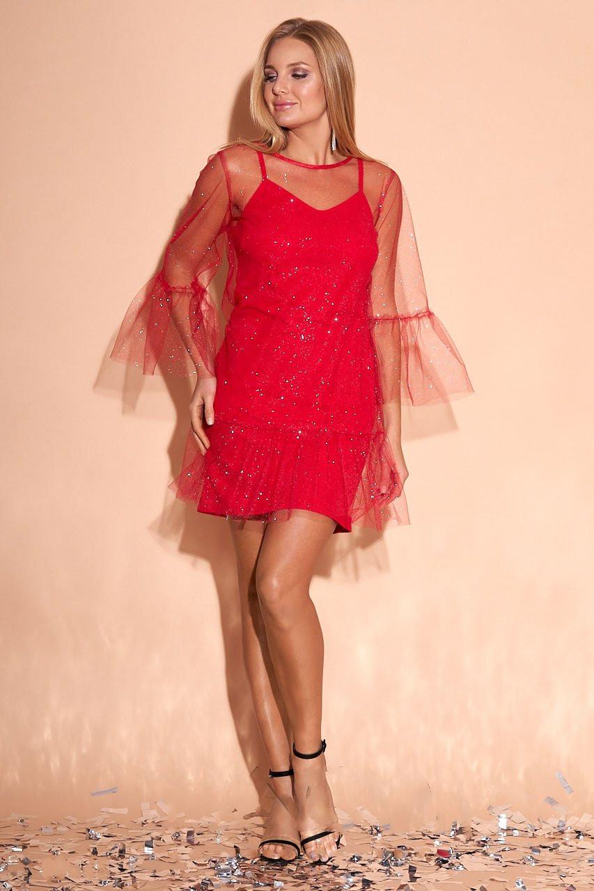 Мини платье в сетку Азиза с люрексом