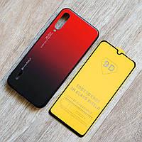 Комплект чехол с градиентом и защитное стекло Full Glue для Xiaomi Mi A3 / Xiaomi CC9e (черно-красный)