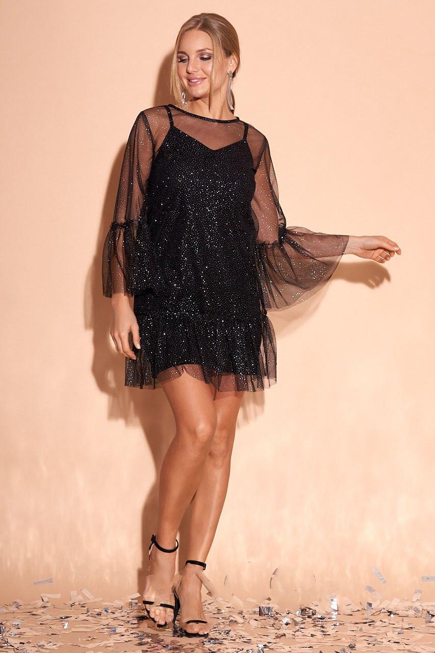 Мини платье в сетку Азиза-1 с люрексом