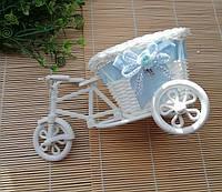 Кашпо Велосипед с голубой лентой, фото 1