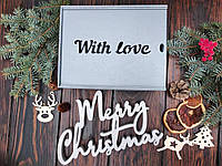 "Деревянная новогодняя подарочная упаковка, коробка, футляр, ящик ""With love"" серого цвета"