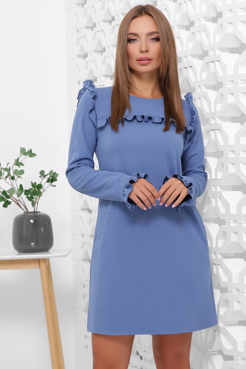 Нарядное платье свободного кроя мини с рюшами