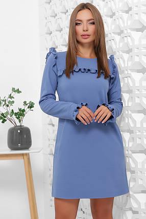 Нарядное платье свободного кроя мини с рюшами, фото 2