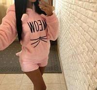Женская  теплая пижама кофточка с рукавом и шортики, размер, m, l, xl. Новинка 2019 года.