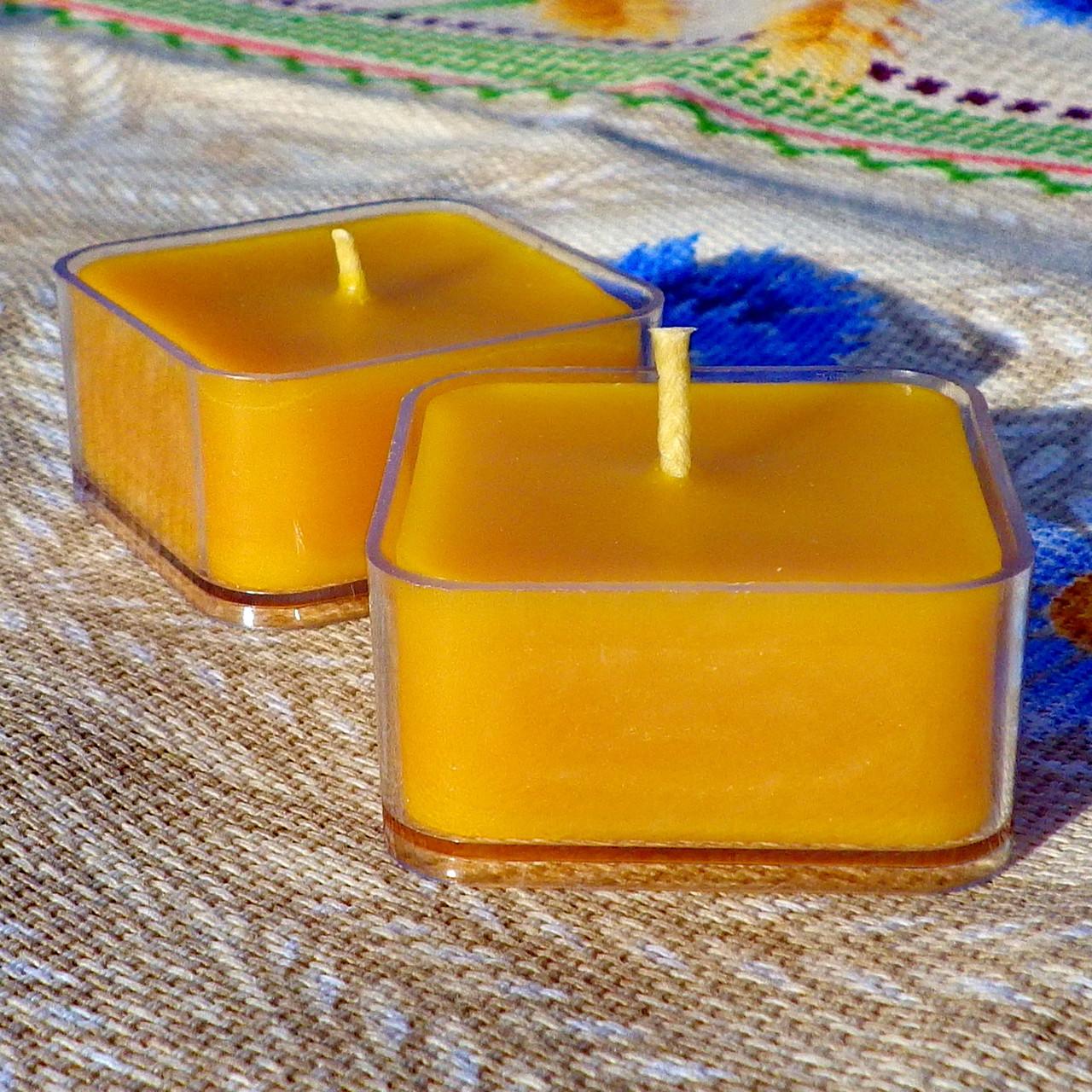 Квадратная прозрачная восковая чайная свеча для аромаламп и лампадок; натуральный пчелиный воск