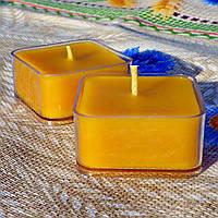 Квадратная прозрачная восковая чайная свеча для аромаламп и лампадок; натурального пчелиный воск