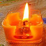 Квадратная прозрачная восковая чайная свеча для аромаламп и лампадок; натуральный пчелиный воск, фото 9