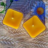 Квадратная прозрачная восковая чайная свеча для аромаламп и лампадок; натуральный пчелиный воск, фото 3
