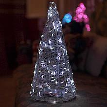 Декор Елка ЛОФТ Новогодняя Рождественская Ель с LED Гирляндой На Батарейках Или От USB 32х16см SilverCold LOFT