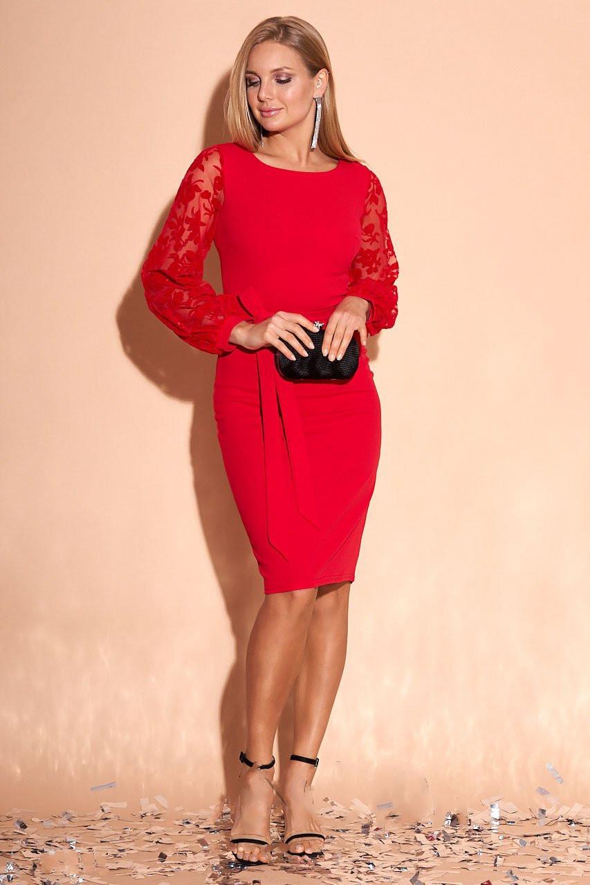 Эффектное нарядное платье Лолита-2 с рукавами из сетки в растительный принт