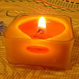 Квадратная прозрачная восковая чайная свеча для аромаламп и лампадок; натуральный пчелиный воск, фото 8