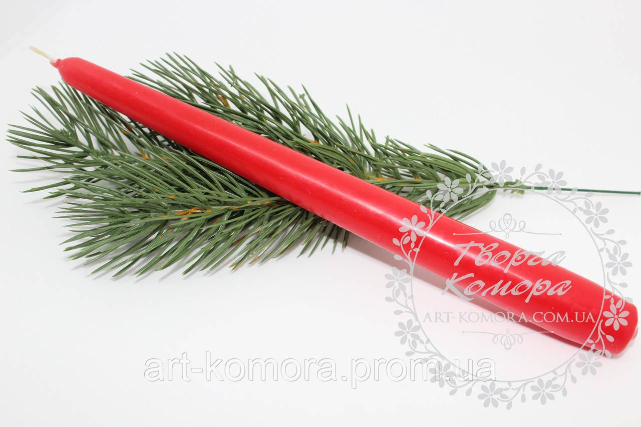 Свеча красная тонкая, 23,5 см