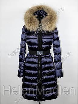 Пуховик пальто парка куртка Moncler синий с натуральным мехом