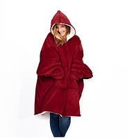 Плед Huggle с капюшоном Ultra Plush Blanket Hoodie Красный, фото 1