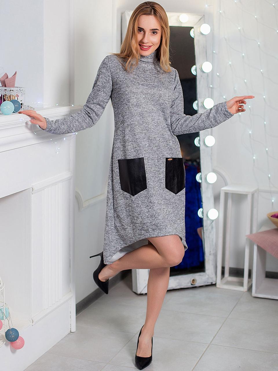 Теплое платье с карманами