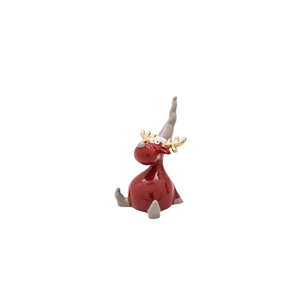 Фигурка Олень в колпаке бордовый 7см 109018