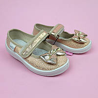 Текстильные детские туфли тапочки Алина, золотой бант размер 26 тм Waldi